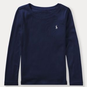  Ralph Lauren Girls Cotton-Blend Navy T-Shirt